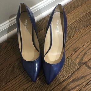 Nine West Blue patent leather pumps